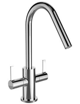 Cashew Chrome Kitchen Sink Mixer Tap With EasyFit Base
