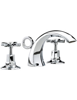 Art Deco Chrome 3 Hole Basin Mixer Tap