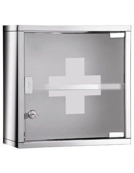 Square Medicine Cabinet With Polished And Frosted Glass Door