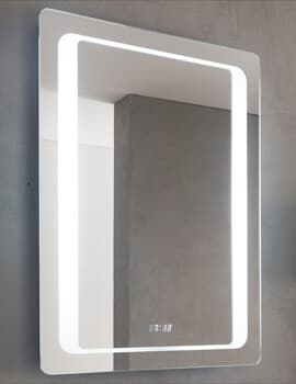 Glow 600mm Backlit LED Mirror With White Clock