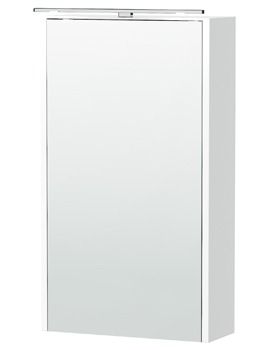 London 40 White Single Door Mirror Cabinet 404 x 700mm
