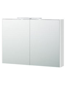 London 100 White 990 x 700mm Double Door Mirror Cabinet