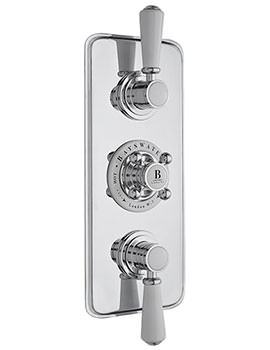 Triple Concealed Chrome And White Shower Valve Without Diverter