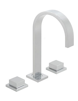 Geo Square Handle 3 Hole Deck Mounted Basin Mixer Tap
