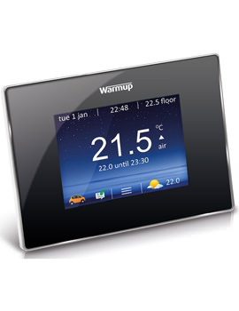 Warmup 4iE Onyx Black Smart Wifi Thermostat - Bright Porcelain Finish