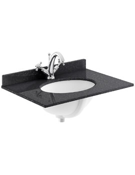 600mm Black Marble Top Single Bowl Basin With 1 Taphole