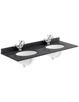 1200mm Black Marble Top Double Bowl Basin With 1 Taphole