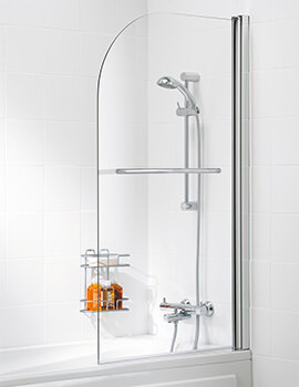 Double Panel Curved Bath Screen With Towel Rail
