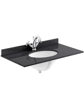 800mm Black Marble Top Single Bowl Basin With 1 Taphole