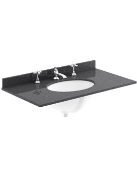 800mm Black Marble Top Single Bowl Basin With 3 Taphole