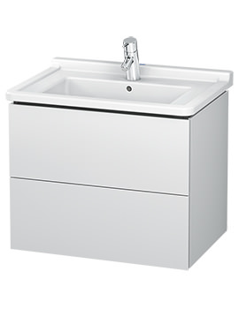 L-Cube 670mm 2 Drawer Wall Mounted Vanity Unit With Starck 3 Basin