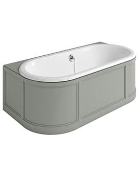 London 1800 x 950mm Back-To-Wall Bath With Grey Curved Surround