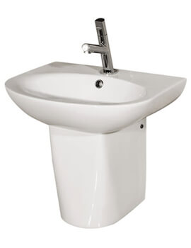 Infinity 1 Tap Hole Basin With Semi Pedestal 500mm - INF50BAS1