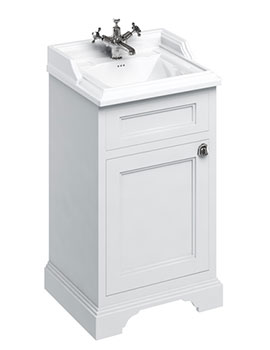 Freestanding 500mm Matt White 1 Door Unit With Classic Basin