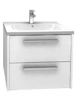 Arco 600mm Wall Mounted Double Drawer Storage Cabinet With Basin High Gloss White Finish