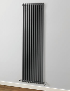 MHS Rads 2 Rails Fitzrovia Anthracite 2 Column Vertical Radiator 1800mm Height - More Width Available