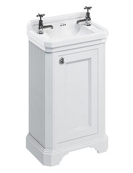 Freestanding 510mm Matt White 1 Door Unit With Edwardian Basin