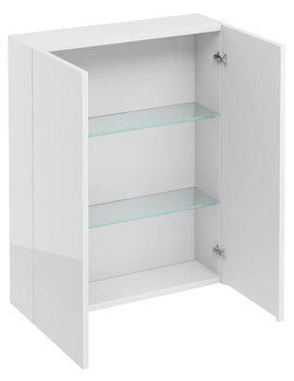Britton 600mm Double Door Wall Hung White Cabinet - Image