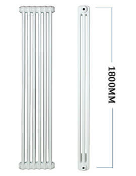 Roma Vertical Steel 2 Column Radiator 1800mm Height