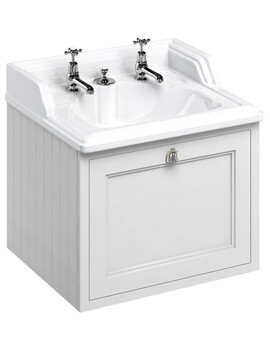 Wall Hung 650mm Matt White Drawer Unit With Classic Invisible Overflow Basin