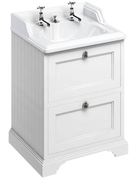 65cm Matt White 2 Drawer Vanity Unit With Classic Invisible Overflow Basin