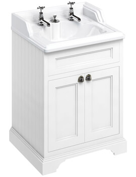 650mm Matt White Two Door Vanity Unit With Classic Invisible Overflow Basin