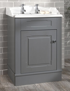 Victorian 635mm Grey Painted Cabinet And 2 Tap Holes Basin