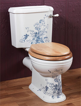 Victorian Blue Garden White Close Coupled Pan And Cistern