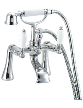 Georgian Pillar Mounted Bath Shower Mixer Tap Chrome