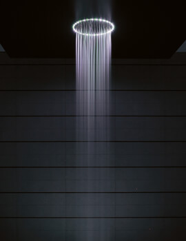 Rio Round White Light Shower Head And Ceiling Arm