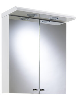 Shire Double Door Illuminated Cabinet White With Shaver Socket