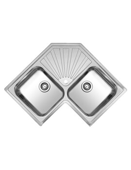 Montreal 830 x 830mm Double Bowl Corner Inset Sink With Drainer