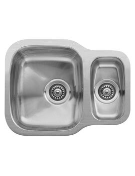 Nebraska 535 x 400mm Stainless Steel 1.5 Bowl Undermount Sink