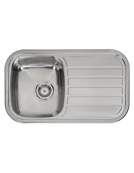 Regent 805 x 480mm Single Bowl Stainless Steel Inset Sink With Main Bowl Left