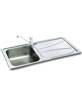 Carron Phoenix Zeta 100 Polished 1.0 Bowl Inset Kitchen Sink