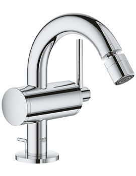 Atrio M Size Chrome Bidet Mixer Tap With Pop Up Waste