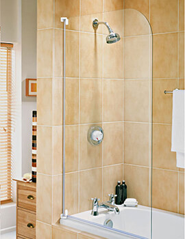 Aqua 3 Half Framed Radius Bath Screen White - FS6450AQU