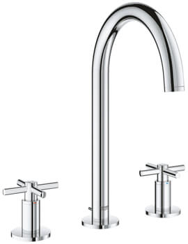Atrio Three Hole Deck Mounted Basin Mixer Tap With Pop Up Waste