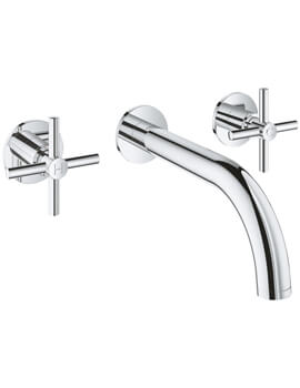 Atrio Three Hole Wall Mounted Basin Mixer Tap