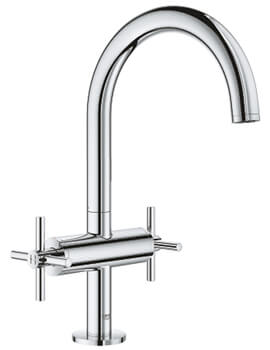 Atrio L Size Deck Mounted Basin Mixer Tap With Push-Open Waste - Crosshed Handle