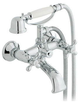 Victoriana Wall Mounted Bath Shower Mixer Tap With Kit Chrome