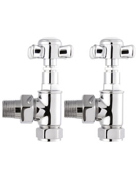 Victorian Crosshead Pair Of Angled Radiator Valve Chrome