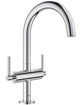 Atrio L Size Deck Mounted Basin Mixer Tap With Push-Open Waste - Lever Handle