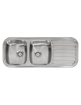 Regent-30 1190 x 480mm Double Bowl Inset Sink With Right Hand Drainer