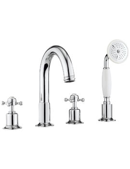 Belgravia Crosshead 4 Hole Bath Shower Mixer Tap With Kit