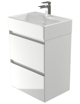 Saneux Podium 500mm Gloss White 2 Drawer Cabinet With Matteo Washbasin