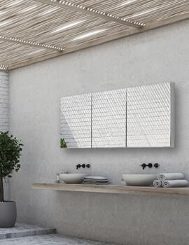 Eris 120 Triple Door Aluminium Mirrored Cabinet 1200 x 700mm