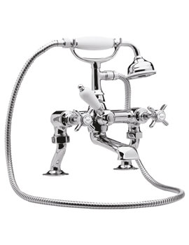 Nuie Premier Beaumont Luxury Cranked Deck Mounted Bath Shower Mixer Tap With Kit