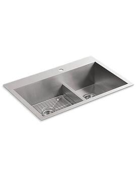 Kohler Vault 838mm Inset OR Under Mount Smart Divide 1.5 Bowl Kitchen Sink