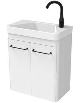 Saneux Hyde 488 x 540mm Two Door Wall Hung Unit With Basin
